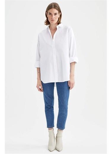 DeFacto Basic Oversize Fit Pamuklu Poplin Gömlek Beyaz